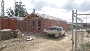Looking from the front at the finished brickwork